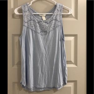 Light blue cotton tank with lace detail